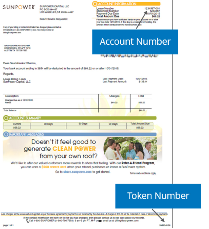 SunPower online bill pay information