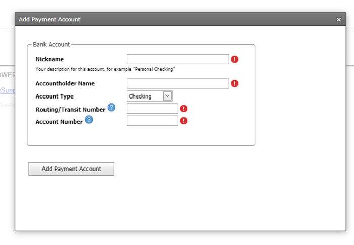 SunPower online bill add payment account