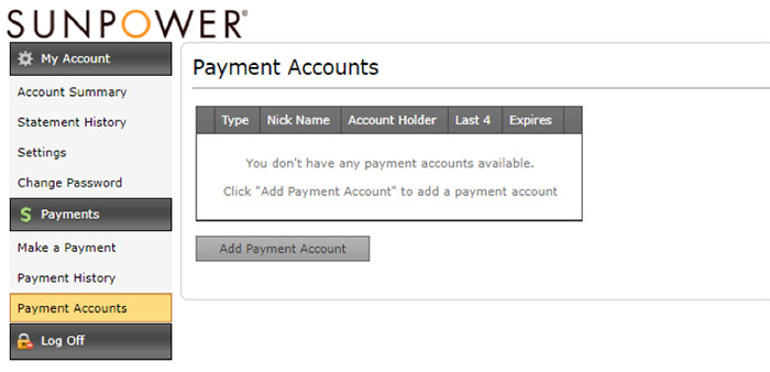 How to add your payment account to SunPower bill