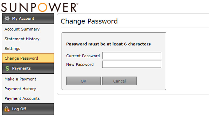 SunPower change your account password