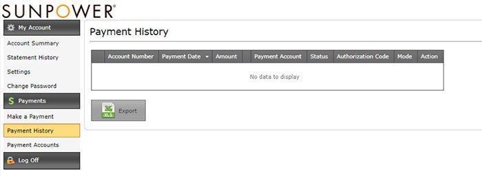 SunPower billing payment history