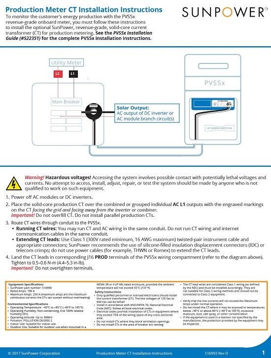 Production Meter CT Installation Instructions 516993 RevD