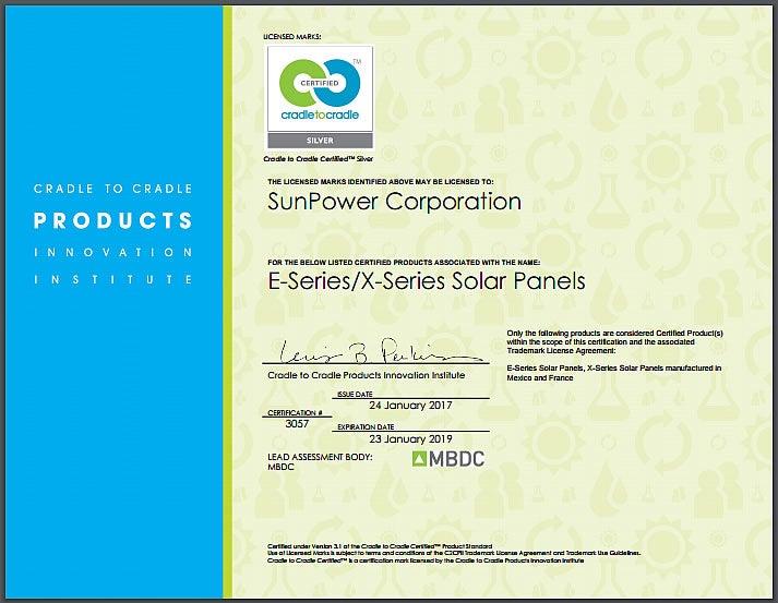 Cradle To Cradle Solar Panel Certification Sunpower
