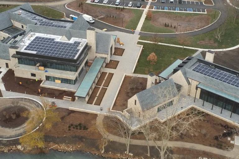 The historic Edsel and Eleanor Ford House underwent an extensive expansion in 2020 with two net zero buildings powered by solar energy.