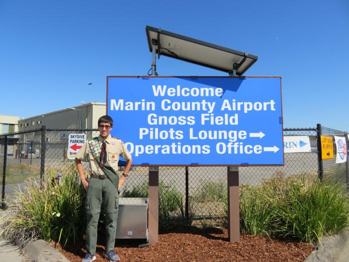 A Boy Scout created a solar welcome sign for a Marin County airport.