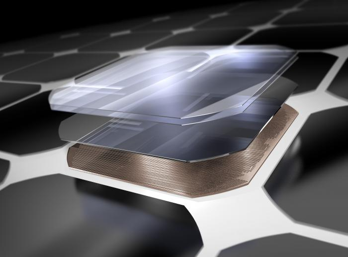 A close up view of a solar cell, which is made of materials that capture photons from the sun and ultimately convert it to energy for your home or business.