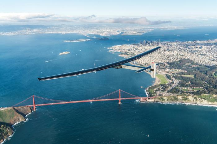 Solar Impulse 2 over the Golden Gate Bridge in San Francisco, Ca.