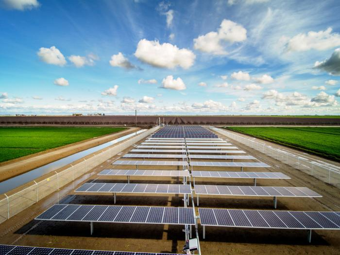 This SunPower solar system for a farm in California uses 40 percent less agricultural land.