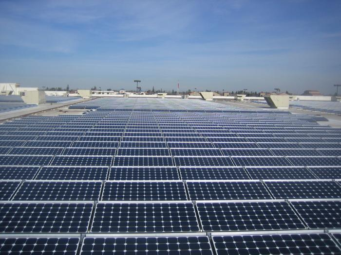 A rooftop commercial solar system by SunPower.