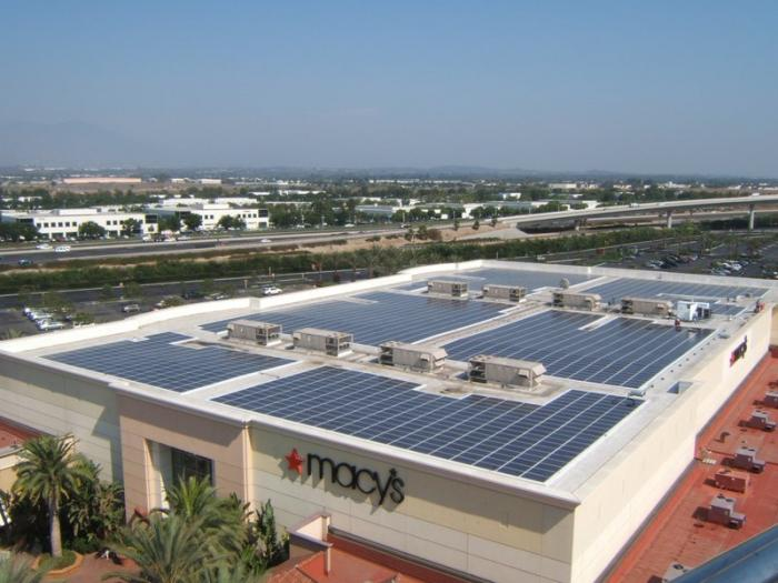 A SunPower solar system at a Macy's department store in Irvine, Ca.