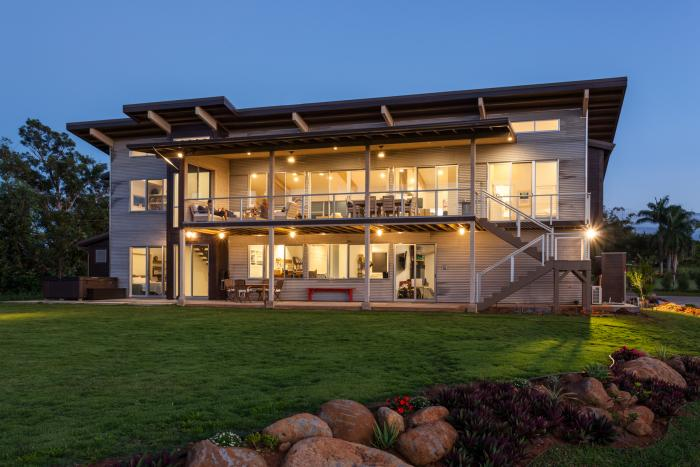 This gorgeous green home in Maui, Hawaii, provided courtesy of Mike Adrian Photography, is powered by SunPower solar.