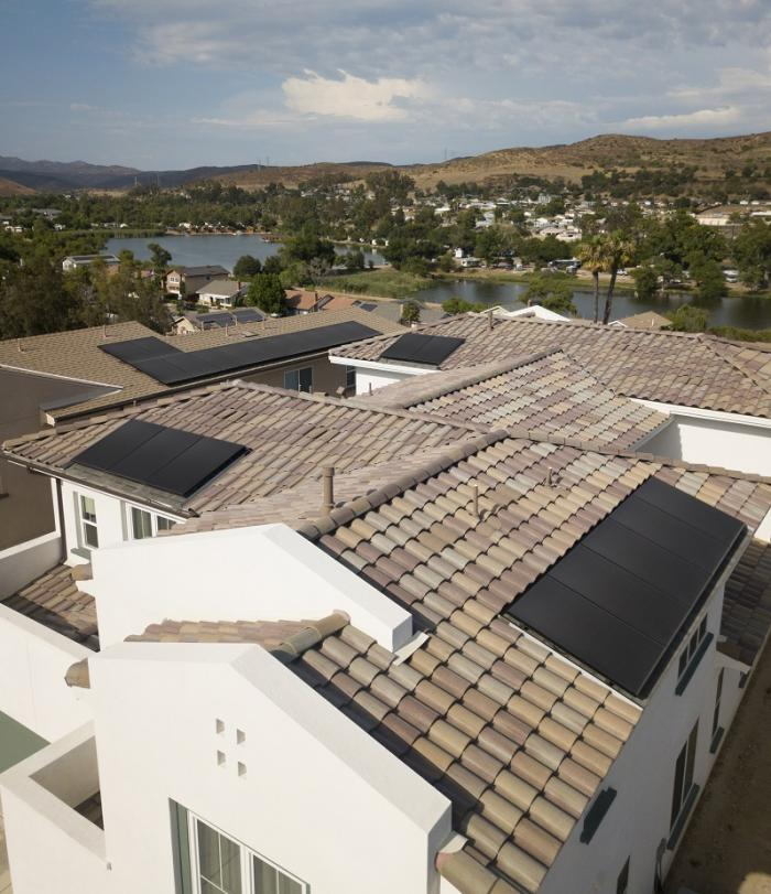 Solar panels on the roofs of a new home community in California