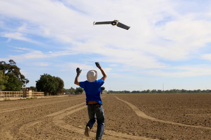 Drones like this one help SunPower design Oasis power plant site layouts up to 10 times faster.