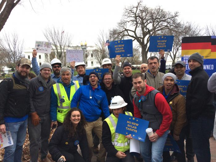 SEIA supporters rally in Washington, D.C., Wednesday against potential trade related actions that could hurt the U.S. solar industry.
