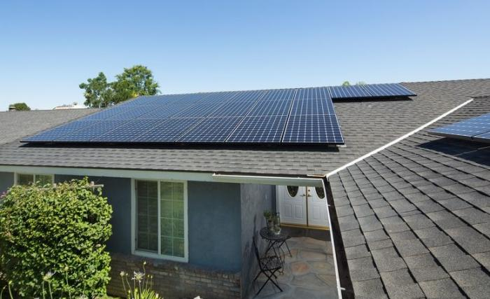 Solar on a roof of California home