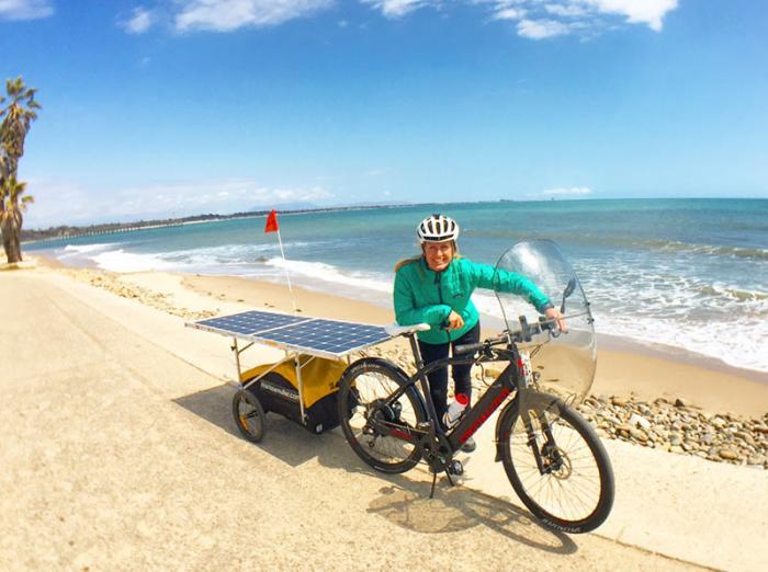 Marissa on her solar bike on Ventura beach