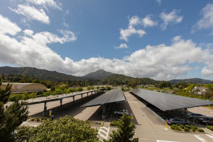 A SunPower schools solar carport system at Redwood High School in California.