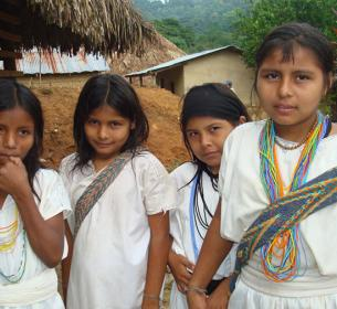 Girls of the Arhuaco tribe in Colombia excited to get solar