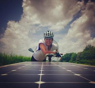 Marissa Muller rode a solar-powered electric bicycle across the country.
